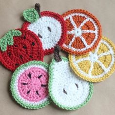 Colorful crochet fruit coasters would make great hostess gift and are
