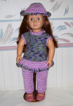 American Girl Doll Crochet Purple Outfit Handmade by Margiecrafts Crochet Doll Clothes, Girl Doll Clothes, Purple Outfits, Purple Pants, 18 Inch Doll, Girl Gifts, Hand Crochet, American Girl, Dolls