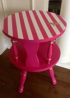 """$85+30 USPS. Listed is a vintage wood side table that I have hand painted in a Victoria's Secret Pink Inspired theme. This table is made of solid wood and is vintage from the 60's or 70's. Measurements are 15""""w x 22""""h."""