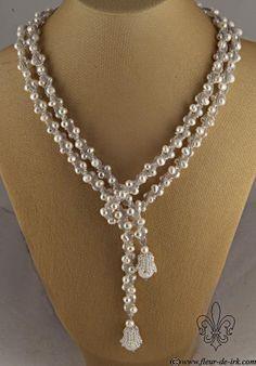 White pearl lariat with bells N1314 by Fleur-de-Irk.deviantart.com