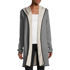 Neiman Marcus Double-Face Long Hooded Cardigan ($69) ❤ liked on Polyvore featuring tops, cardigans, long sleeve cardigan, reversible top, long sleeve tops, long cardigan and long open front cardigan