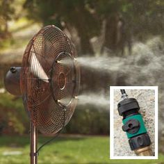 Turn an outdoor fan into a cooling mister! | Solutions.com #Summer #New Arrivals