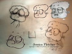 Initial sketches of Jessica Fletcher from a parody of 'Murder, She Wrote'.