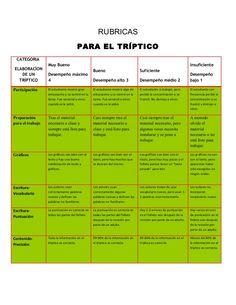 RUBRICAS                                       PARA EL TRÍPTICO CATEGORIA                  Muy Bueno                                                           …