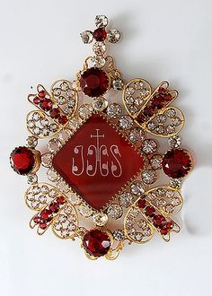 French Antique Jeweled IHS Candle Shade Ornament