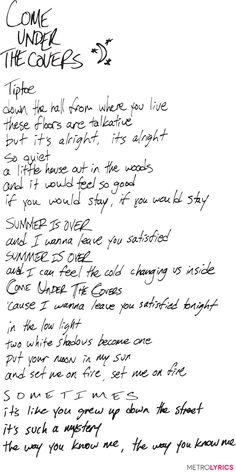 "Walk the Moon // ""Come Under The Covers"" lyrics Lyric Art, Lyric Quotes, Music Lyrics, Silly Love Songs, Walk The Moon, Summer Quotes, Music Heals, Celebrity Travel, Some Words"