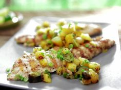 Grilled Pink Snapper with Caramelized Pineapple-Green Onion Butter and Relish | Bobby Flay