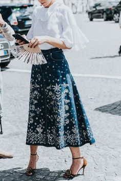 If you thought embroidered denim skirts were only for festival season, think again. These chic skirts will give your outfits the extra boost they need. Jeans Denim, Denim Skirts, Fashion Week, Womens Fashion, Skirt Fashion, Fashion Dresses, Boho Trends, Casual Skirt Outfits, Vintage Mode