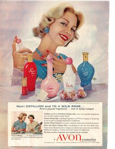 vintage avon ads | Avon Cosmetics 1958 original vintage ad Household Magazine Cotillion ...