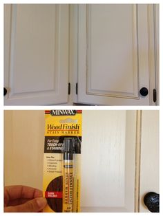 After painting our oak cabinets cream I felt like they needed a glaze but didn't want to take them down and hassle with the glazing process. I picked up a stain marker by Minwax (lowes, wal mart etc) for  less than $5. It took me about an hour and a half to basically draw a line in all the crevices on the doors and drawers and I love the outcome. The stain is oil based over oil based paint. I used the dark walnut stain marker for this look. The left cabinet is the before pic.