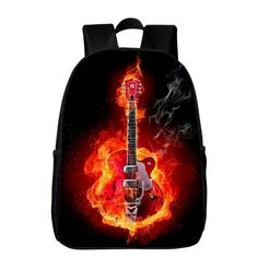 2017 New Style Oxford 16 Inches Printing Flame Guitar Teenagers Boys School Bags Women Backpack Kids Baby Schoolbag Student Bag