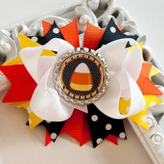 Halloween Hair Bow Halloween Hairbow Candy by OurLittleCharmedLife, $5.50