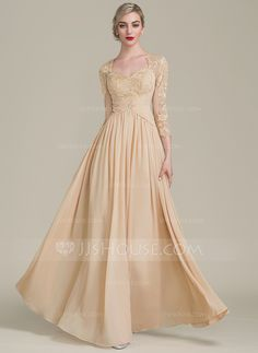 A-Line/Princess Sweetheart Floor-Length Ruffle Beading Zipper Up Sleeves 3/4 Sleeves No Champagne General Plus Chiffon Lace Mother of the Bride Dress