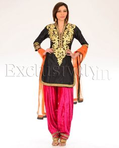 Zari Embroidered Black Suit with Hot Pink Patiala Pants