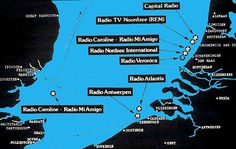 Map showing location of mainly Dutch offshore broadcasters, 1970s