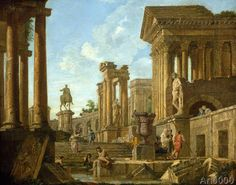 Giovanni Paolo Pannini or Panini - An Architectural Capriccio with Ruins, the Equestrian Statue of Marcus Aurelius and Figures by a Pool