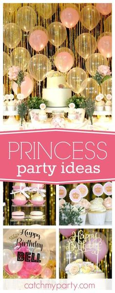 Take a look at this pretty Pink & Gold Princess birthday party! The balloon decorations are fantastic! See more party ideas and share yours at CatchMyParty.com
