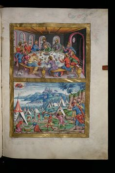 """Representation of """"The Last Supper"""" in a 16th century manuscript by Virtual Manuscript Library of Switzerland"""