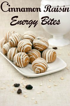 Cinnamon Raisin Energy Bites - a healthy, protein-packed snack that will satisfy your sweet tooth! @Melissa Squires Squires Squires Squires Henson CandiQuik