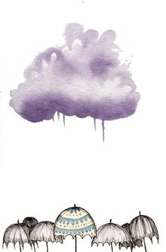 cloudy weather~~~ most days feel this way. Watercolor Clouds, Watercolor Paintings, Watercolours, Rain Art, Umbrella Art, Sketch Painting, You Draw, Arte Pop, Illustration Sketches