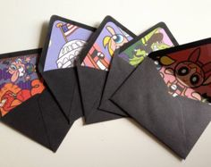 Set of 10 Black Envelopes with Powerpuff Girls Liners If Sophia still wants a PPG party by May