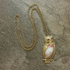 Owl Pendant Necklace Long chain, Gold Plated with Pink Stone No brand, bought at a boutique  In PERFECT CONDITION  <3 Jewelry Necklaces