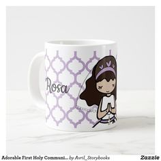 Adorable First Holy Communion little girl mug - home gifts ideas decor special unique custom individual customized individualized Communion Gifts Girl, Catholic Communion, First Holy Communion, Gifts For Girls, Girl Gifts, Cute Cartoon Girl, Confirmation Gifts, Catholic Gifts, Spiritual Gifts