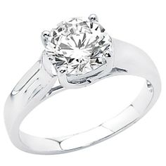 14K White Gold High Polish Finish Round-cut 1.25 CT Equivalent Top Quality Shines CZ Cubic Zirconia Ladies Solitaire Wedding Engagement Ring Band The World Jewelry Center. $201.00. Simply Elegant. High Polished Finish. Promptly Packaged with Free Gift Box and Gift Bag