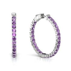 Sterling Silver Earrings with Amethyst - perspective