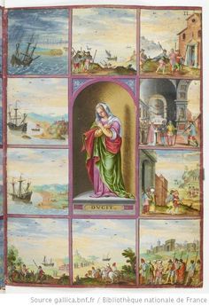 Allégorie de la Dévotion, entourée de dix tableaux : (1) vaisseau de Magius en rade de Venise, (2) devant Zante et Zacynthe, (3) devant Satine, (4) entrée dans le port de Simiso, (5) arrivée à Zaffo , (6) entrée à Roma de Fuori, (7) sortie de Roma de Fuori, (8) église de Jérusalem , (9) arrivée à Bethléem, (10) sur le chemin de Zaffo]; Voyages et aventures / de Ch. Magius  Magius, Ch.. Auteur du texte  1578