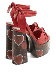 4235bad70f8 Heart Print, Ysl, Leather Sandals, Heeled Mules, Yves Saint Laurent, Baby