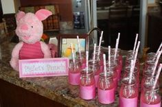 Winnie the Pooh, Piglet punch served in bottles with pink and white straws