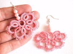 Pink Pearl Earrings Flower Tatted Lace Earrings Light Pink
