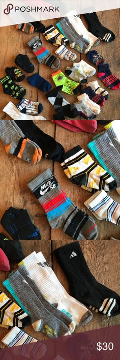 25+ pairs of boys socks approximate shoe sz 13y-2 25+ pairs of boys socks in good condition. These will fit shoes size 13y to 2y. My son wore these when he was around age 9. Variety of brands, Nike, Osh Kosh, Keds, Old Navy along with characters like Ninja Turtles, and a few holiday socks. Accessories Socks & Tights