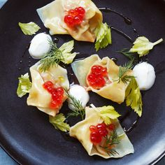 Lamb Wontons with Salmon Roe and Dill