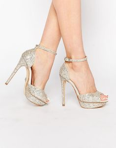 Image 1 of Lipsy Molly Silver Glitter Platform Heeled Sandals