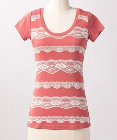 Take a look at this Dusty Cedar Lace Line Top on zulily today!