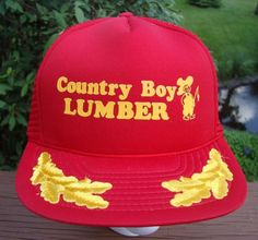 Vintage TRUCKER HAT Country Boy Lumber RED GOLD Snap Back Mesh #Cap