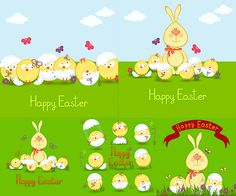 Easter cards with bunny and chick vector. We have over 10,000+ pictures. All images on the site vectorpicfree.com free for download and ready for print.