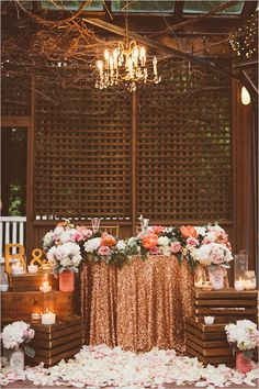 Blush and Gold wedding - Blush & gold sweetheart table - sequins & peonies