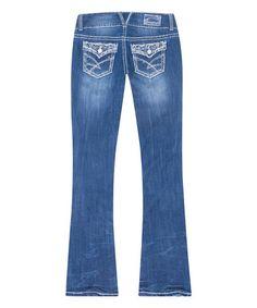 Love this Light Blue Daisy Regular Bootcut Jeans on #zulily! #zulilyfinds