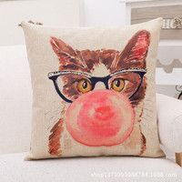 Hipster Cat Printed Cotton Linen Decorative Cushion/Throw Pillow (Does Not Contain Filling) (45 x 45 cm)