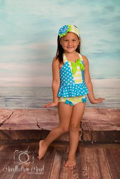 Peplum Tankini & Trunks in Turquoise Dot and Lime Stripe: SS16 Collection (Size 2 - 12) by muddyfeetboutique on Etsy https://www.etsy.com/listing/274780752/peplum-tankini-trunks-in-turquoise-dot
