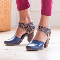 Womens Vintage Ankle Strap Med Block Heels Round Toe Mary Jane Buckle Shoes G732