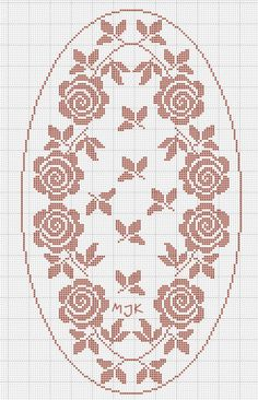 CLUB DE LAS AMIGAS DE LAS MANUALIDADES (pág. 564) | Aprender manualidades es facilisimo.com Crocs, Filet Crochet Charts, Knitting Charts, Crochet Cross, Crochet Home, Knitting Stitches, Oval Tablecloth, Rosas Crochet, Crochet Dollies