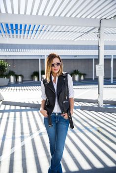 How To Wear Bootcut Jeans • Uptown With Elly Brown | Biker Vest