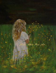 Girl Paintings Little Girl Paintings Picking by LeslieAllenFineArt, $65.00