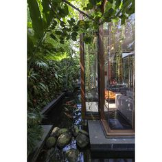 Lush Gardens and Peekaboo Roof Pool define Contemporary Home MODERN... ❤ liked on Polyvore featuring home and pics