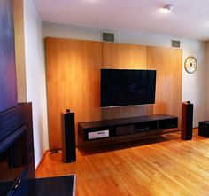 Custom Made Media Console Cabinet And Wall Panels Floating Media