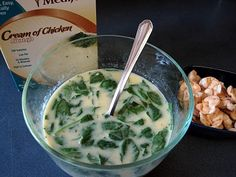 Medifast Cream of Chicken Soup with spinach added, and Medifast Ranch Soy Crisps